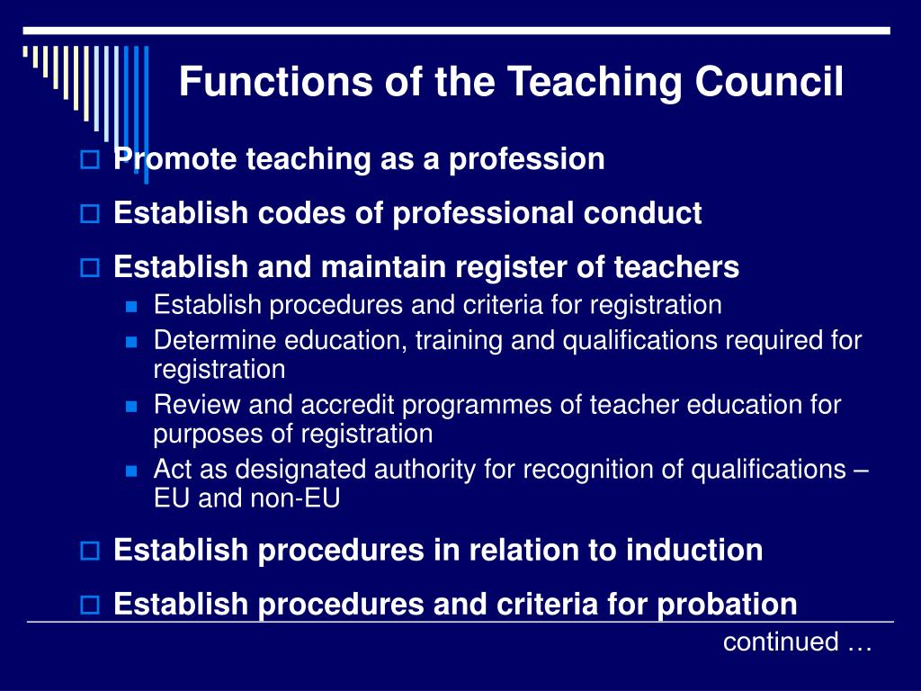 Functions of the Teaching Council