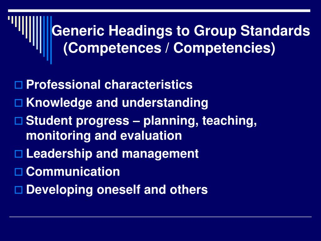 Generic Headings to Group Standards