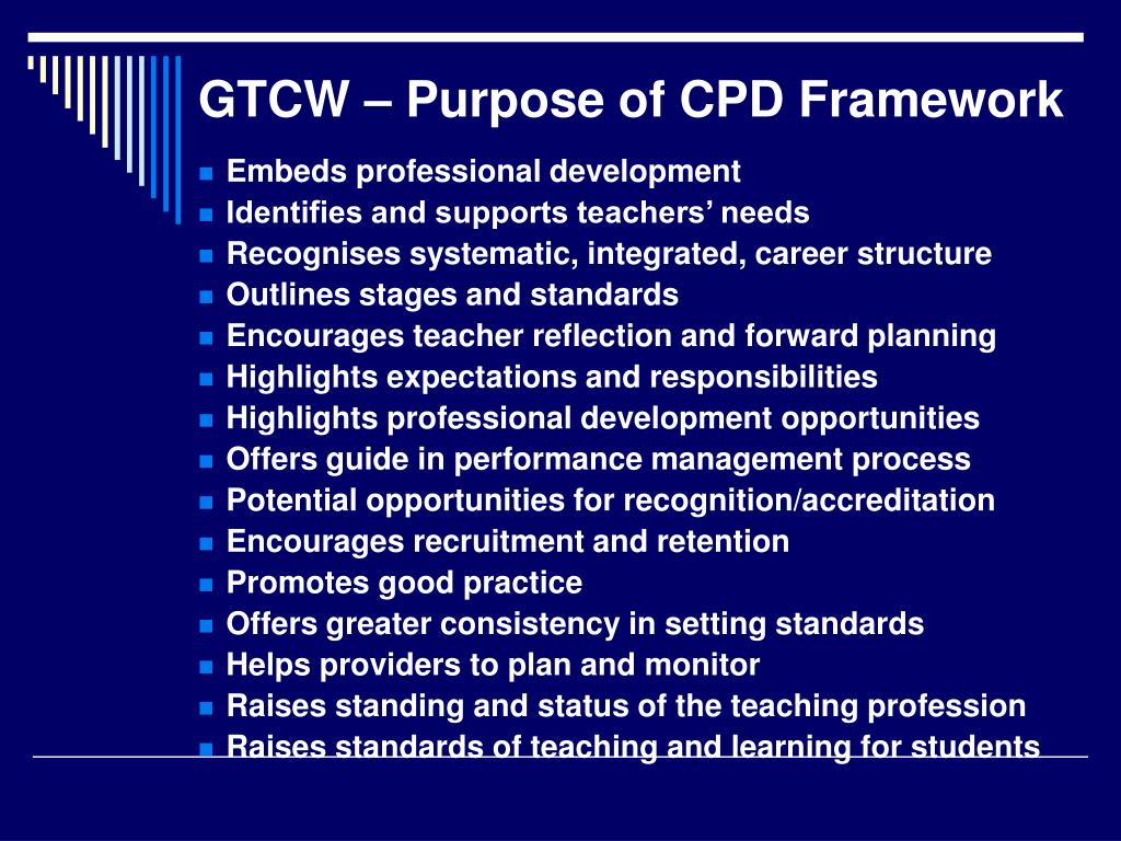 GTCW – Purpose of CPD Framework