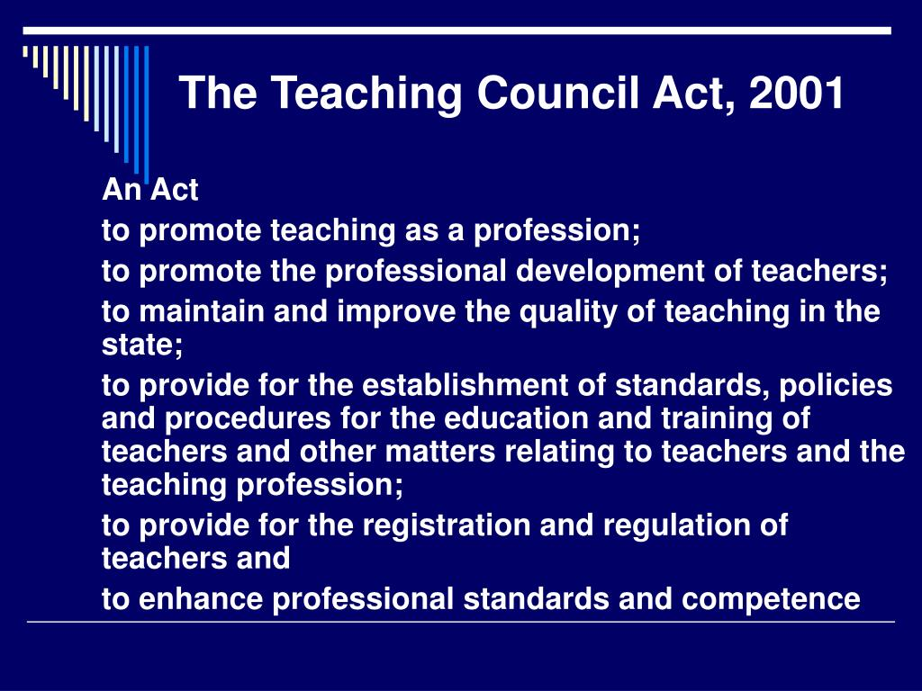The Teaching Council Act, 2001