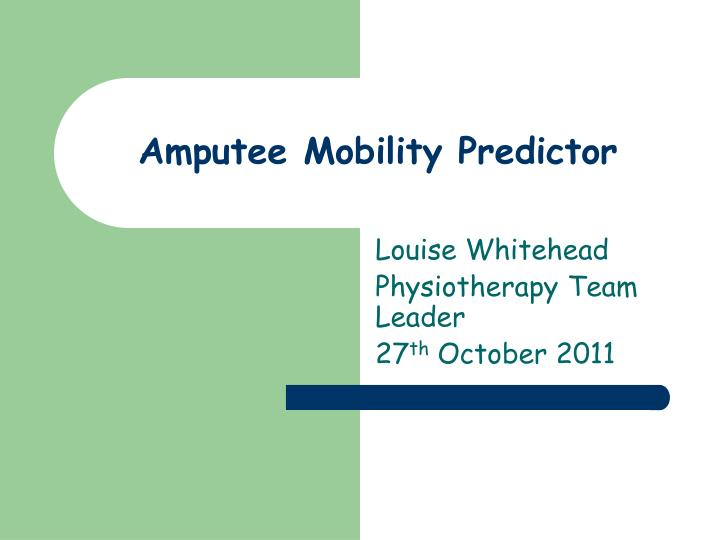 amputee mobility predictor n.