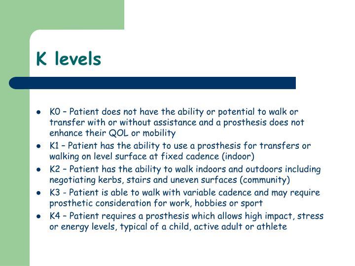 K levels