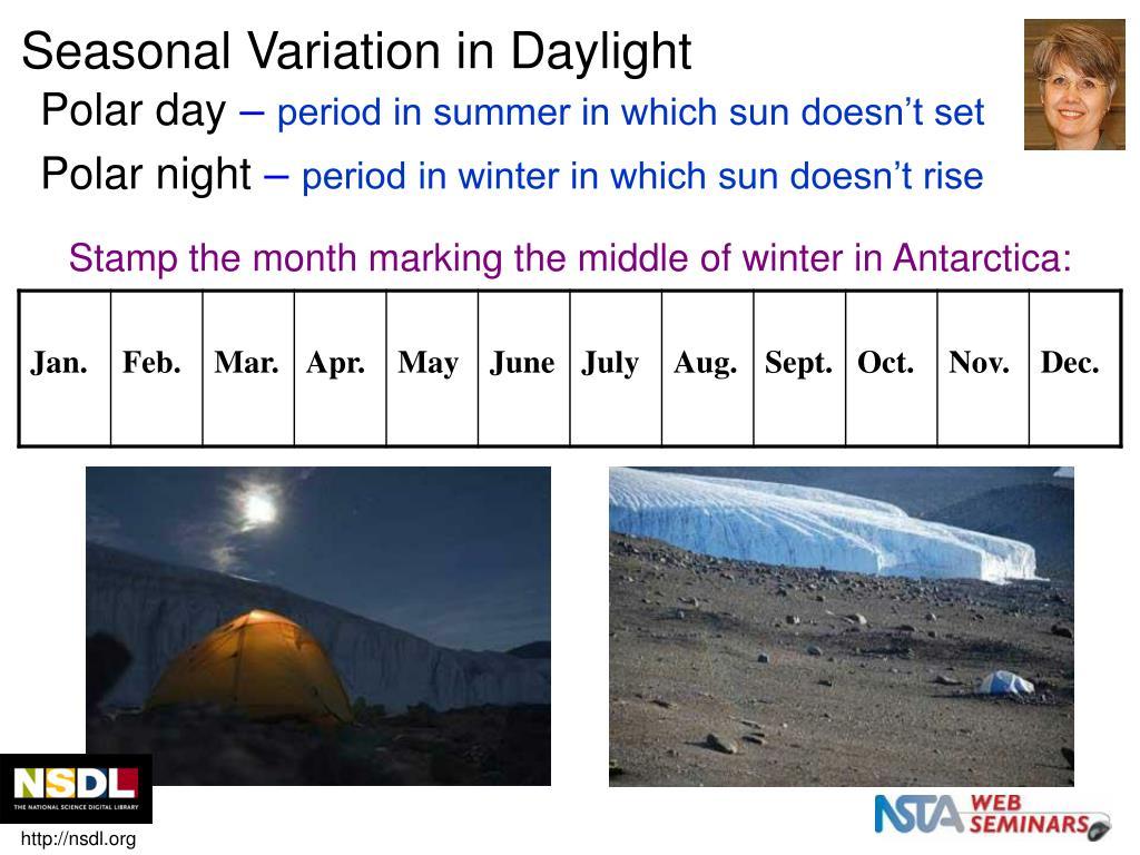 Seasonal Variation in Daylight