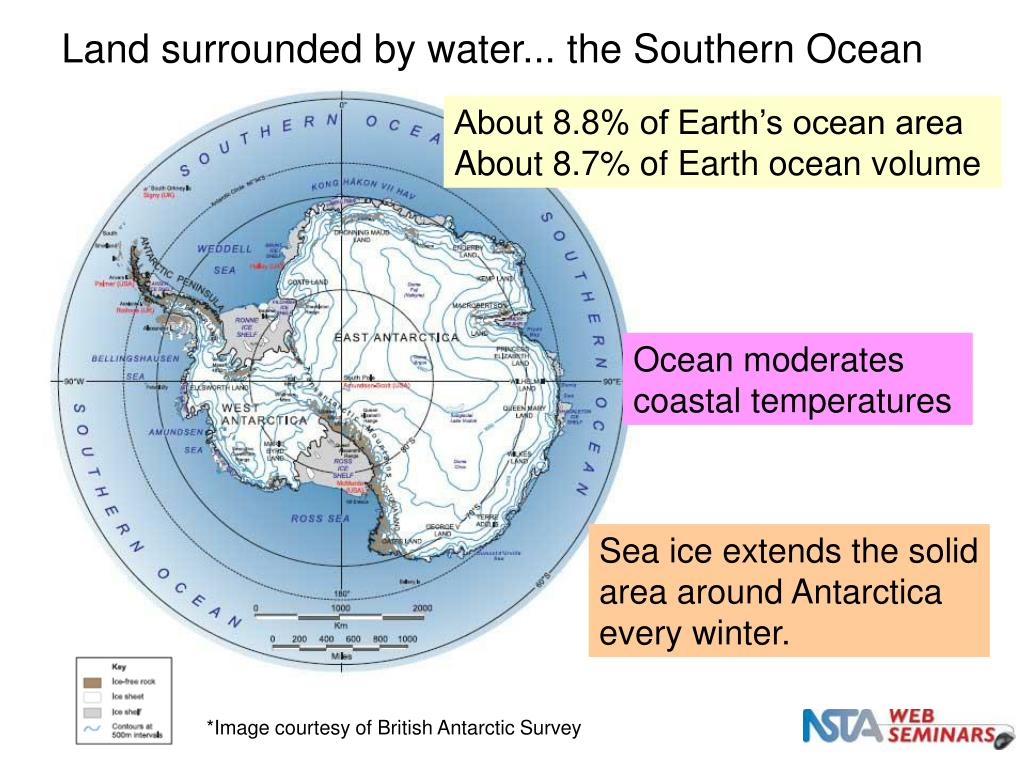 Land surrounded by water... the Southern Ocean