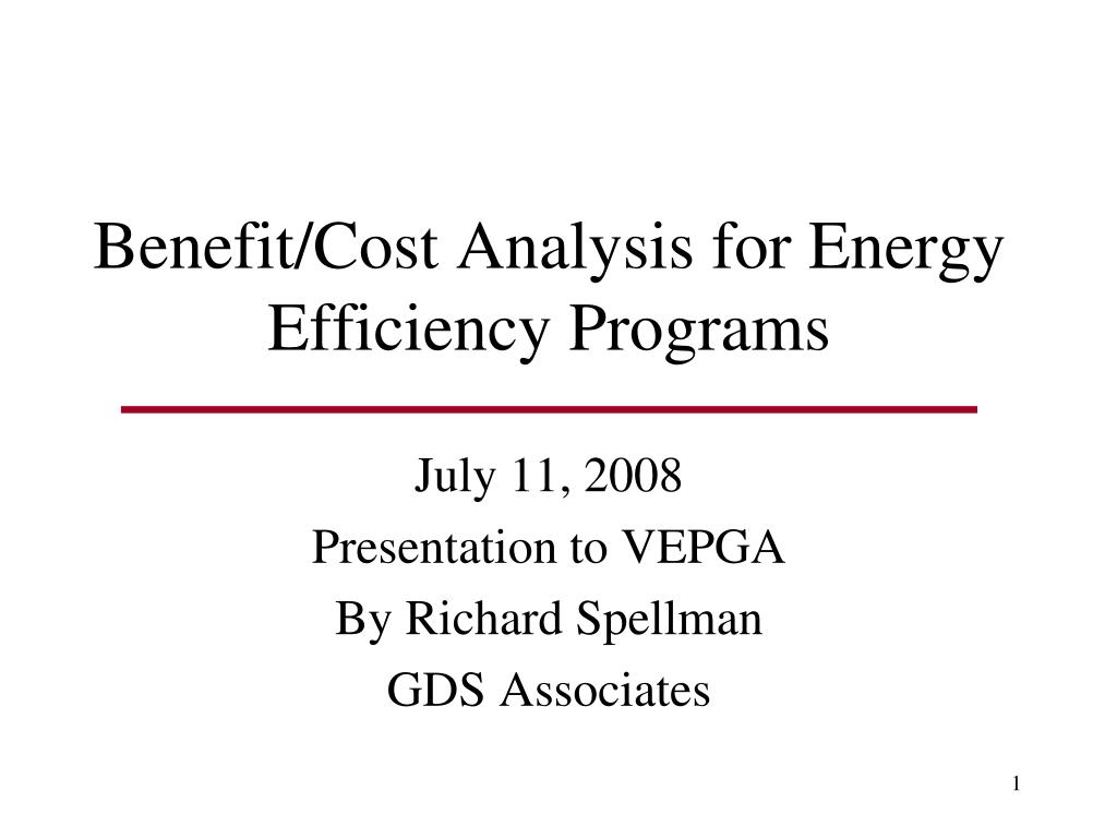 benefit cost analysis for energy efficiency programs l.