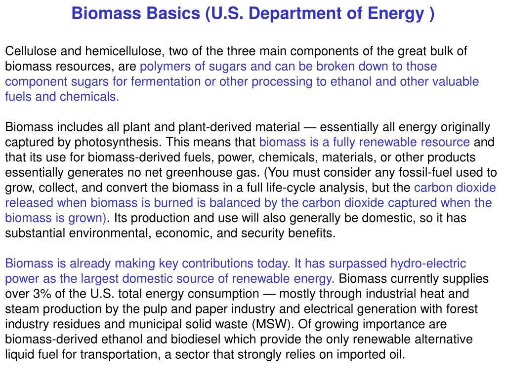 Biomass Basics (U.S. Department of Energy
