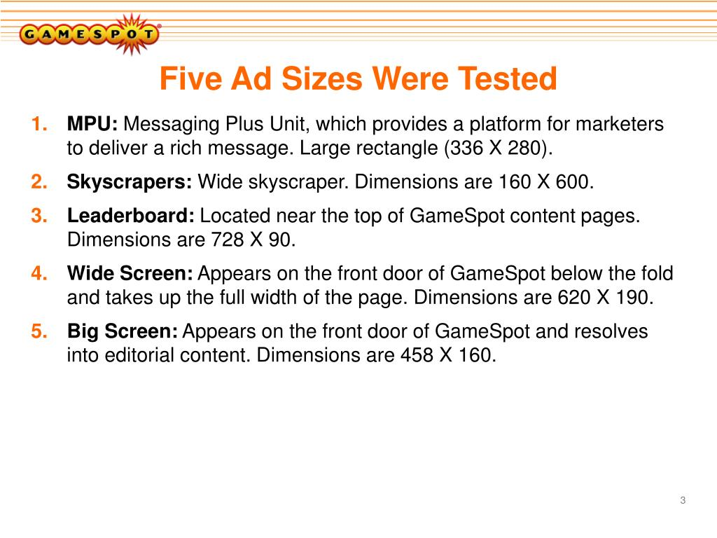 Five Ad Sizes Were Tested