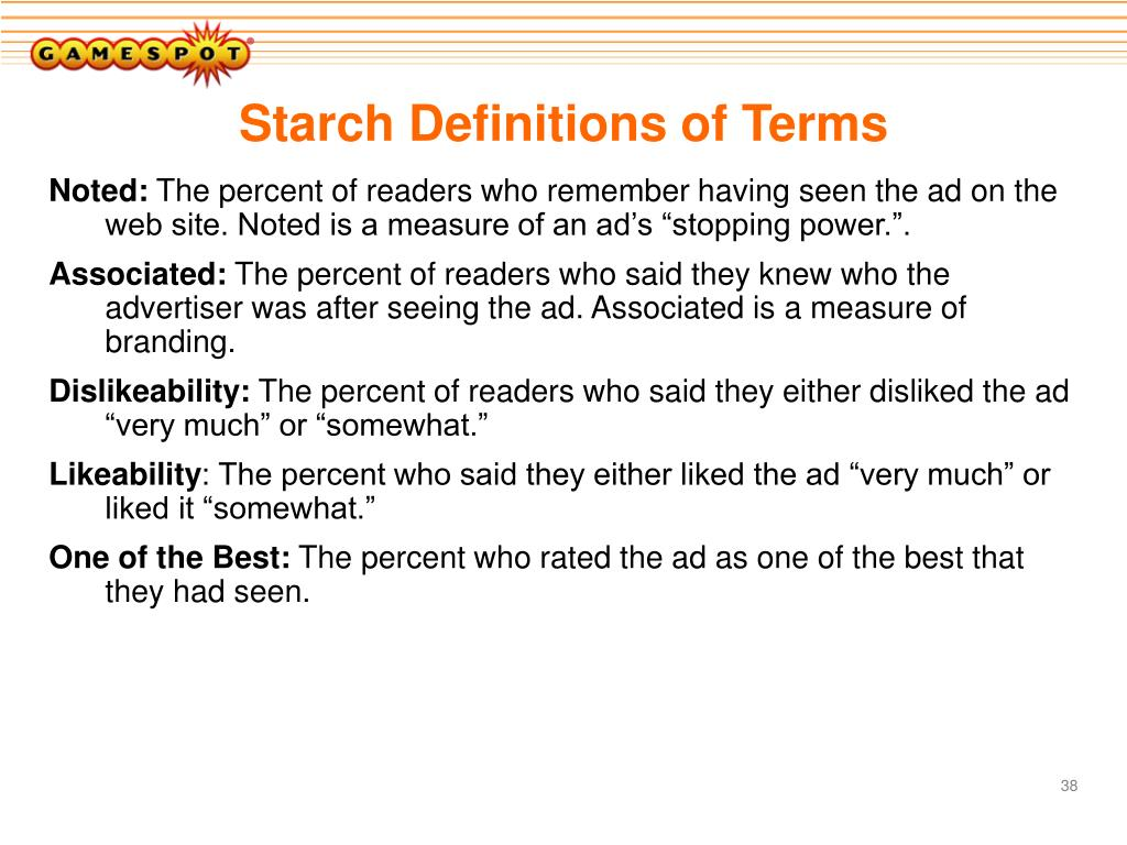Starch Definitions of Terms