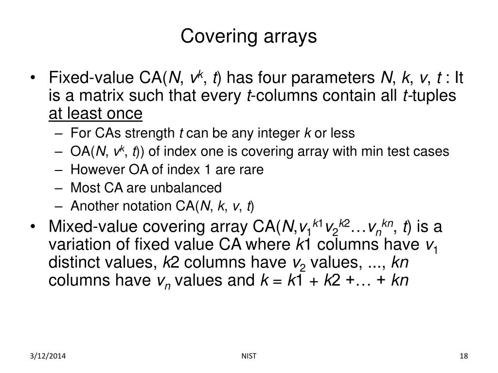 Covering arrays