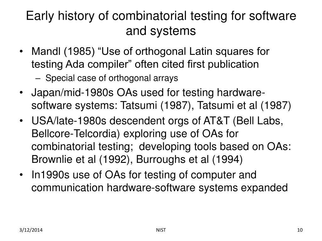 Early history of combinatorial testing for software and systems