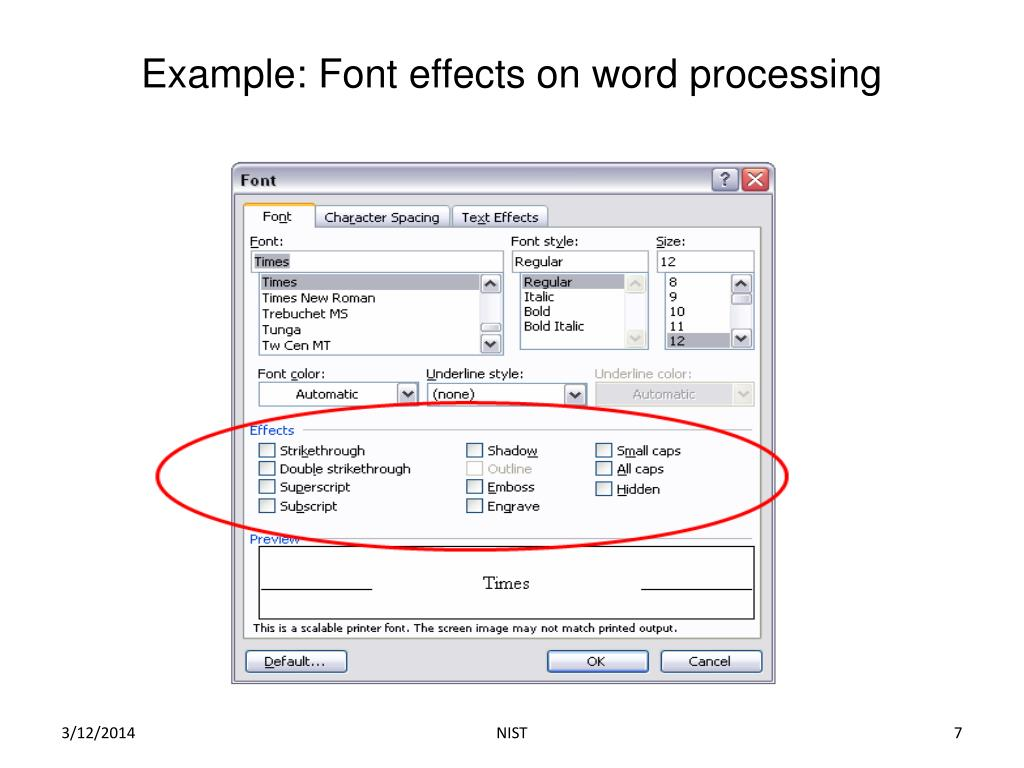 Example: Font effects on word processing