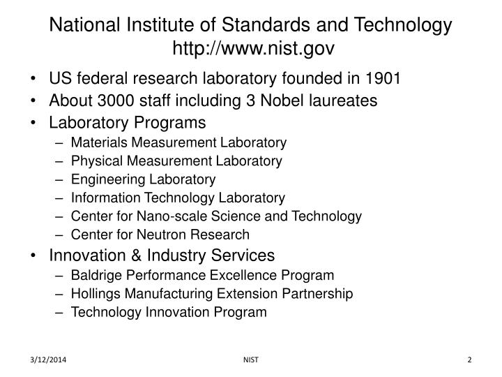National institute of standards and technology http www nist gov