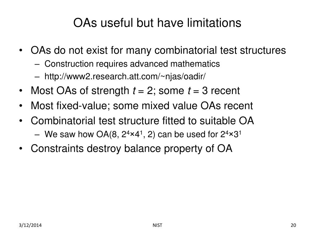 OAs useful but have limitations