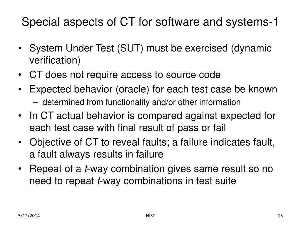Special aspects of CT for software and systems-1