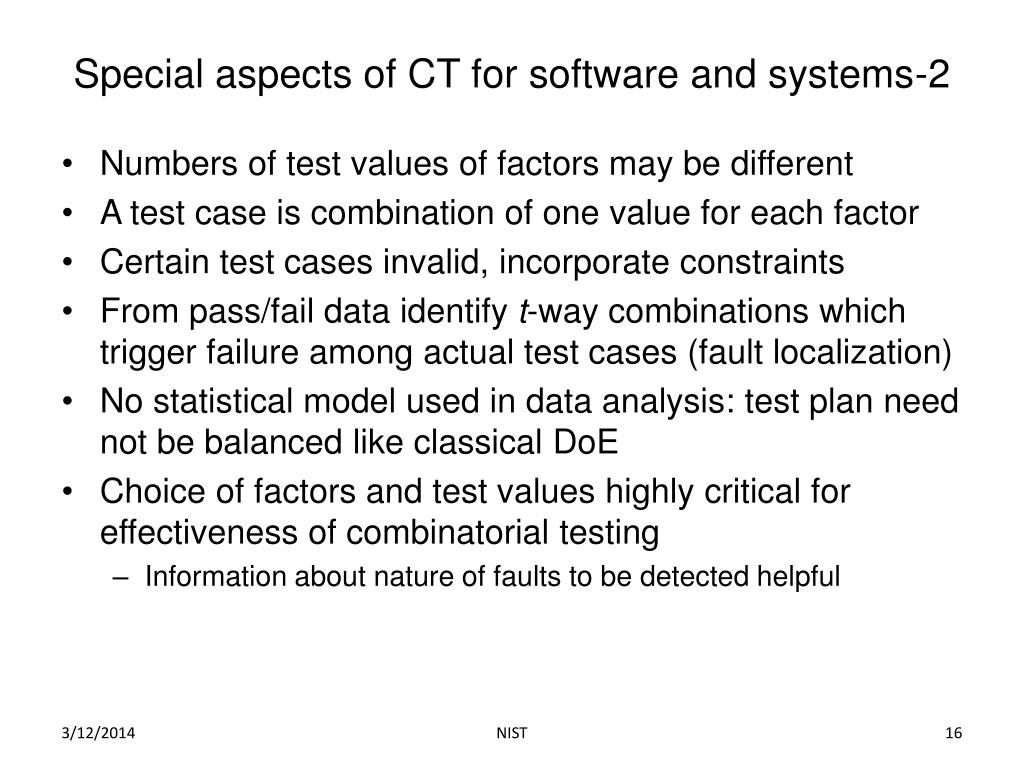 Special aspects of CT for software and systems-2
