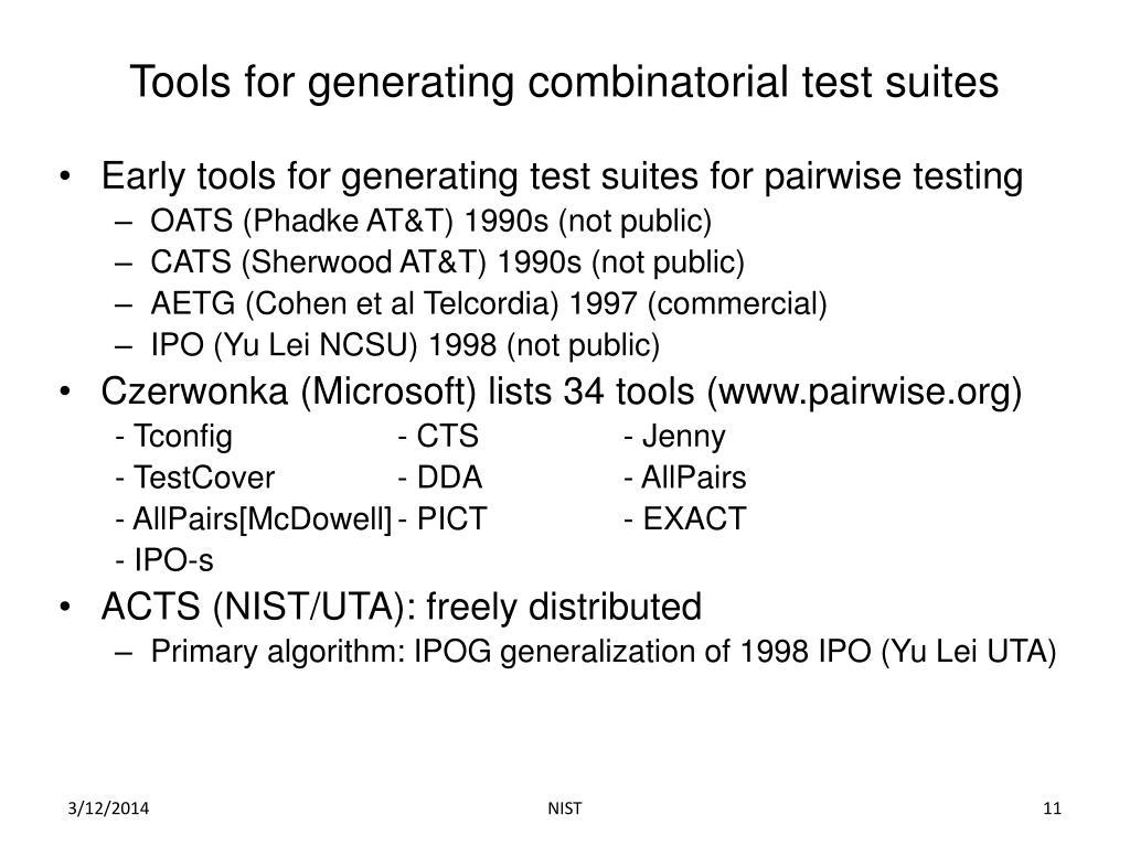 Tools for generating combinatorial test suites
