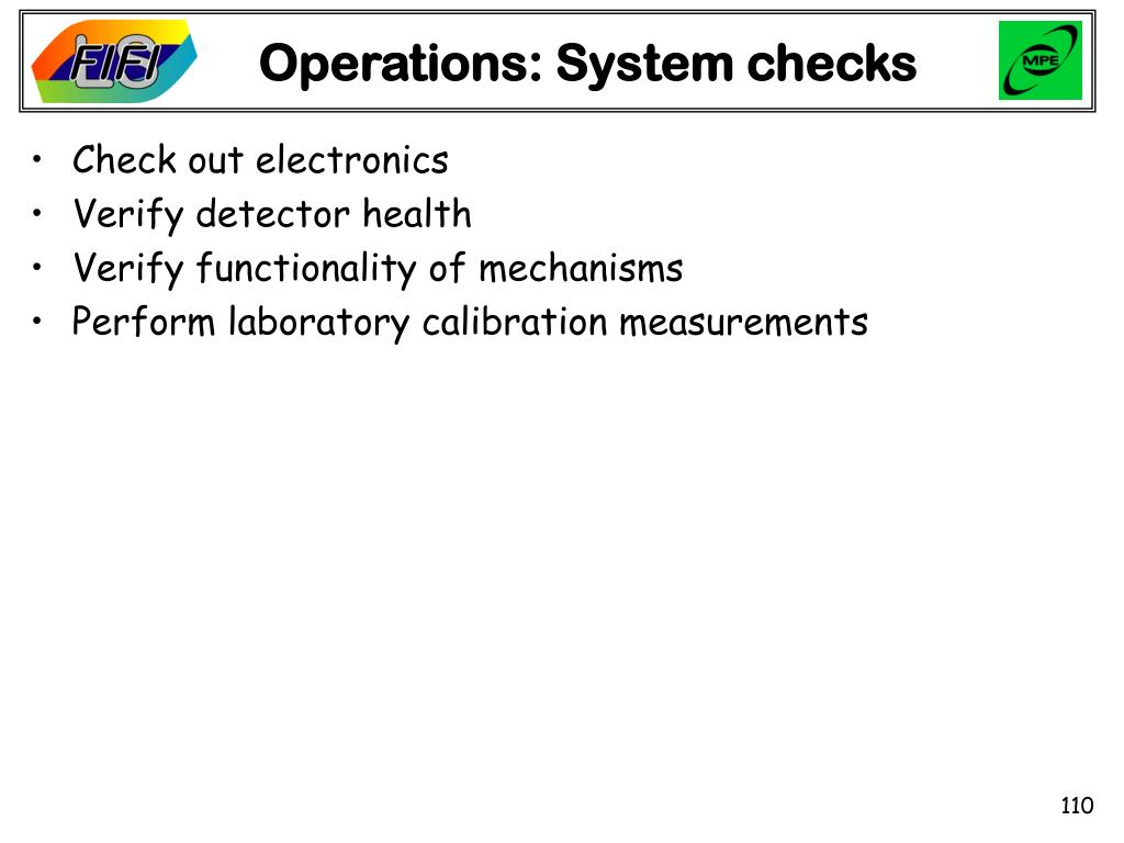 Operations: System checks
