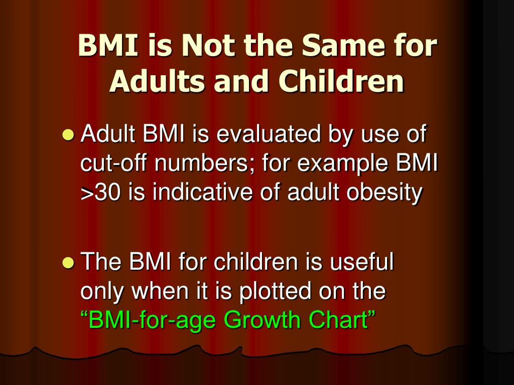 BMI is Not the Same for Adults and Children