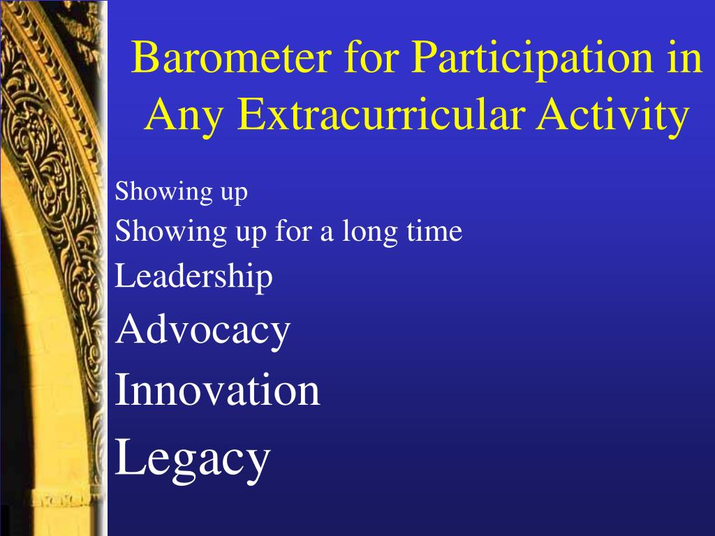 Barometer for Participation in Any Extracurricular Activity