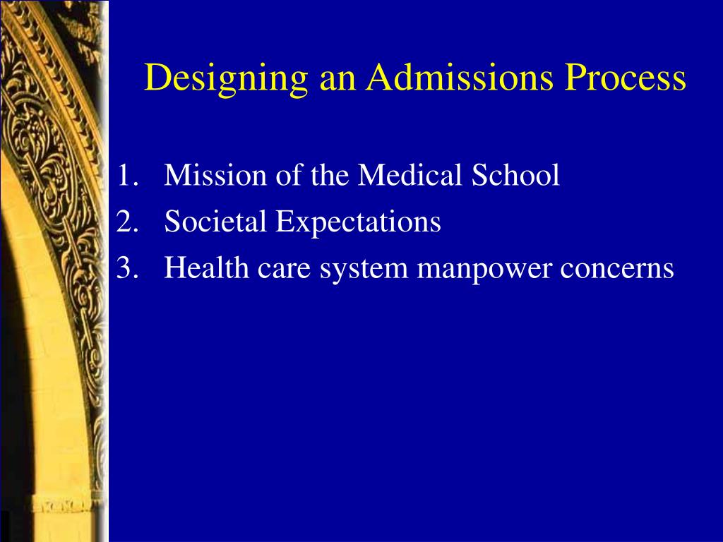 Designing an Admissions Process