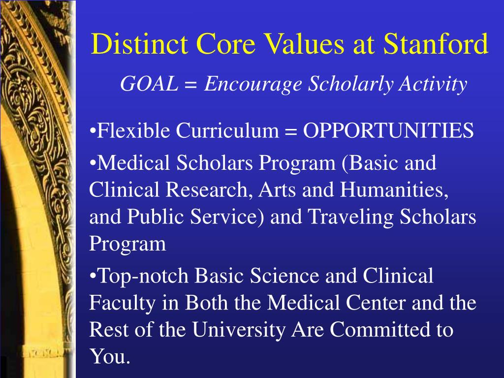 Distinct Core Values at Stanford