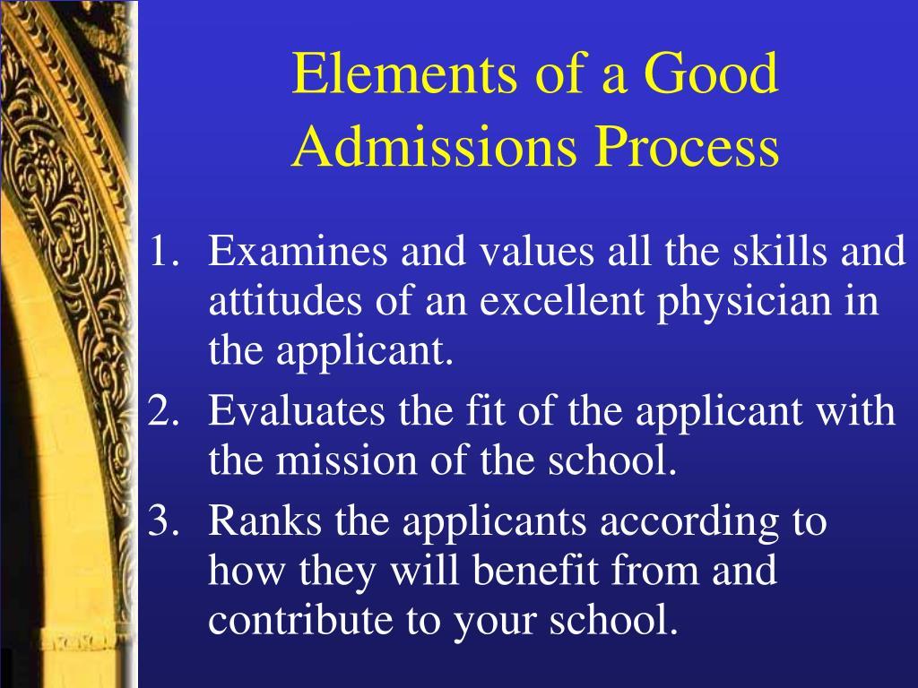 Elements of a Good Admissions Process