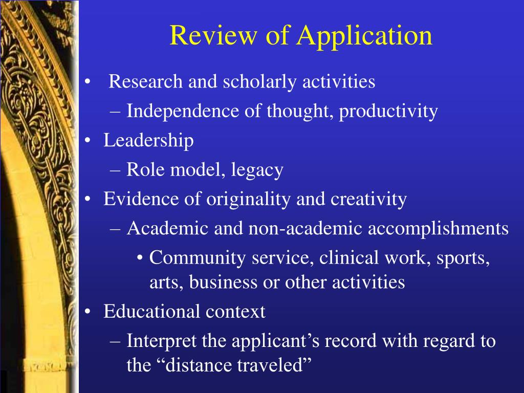 Review of Application