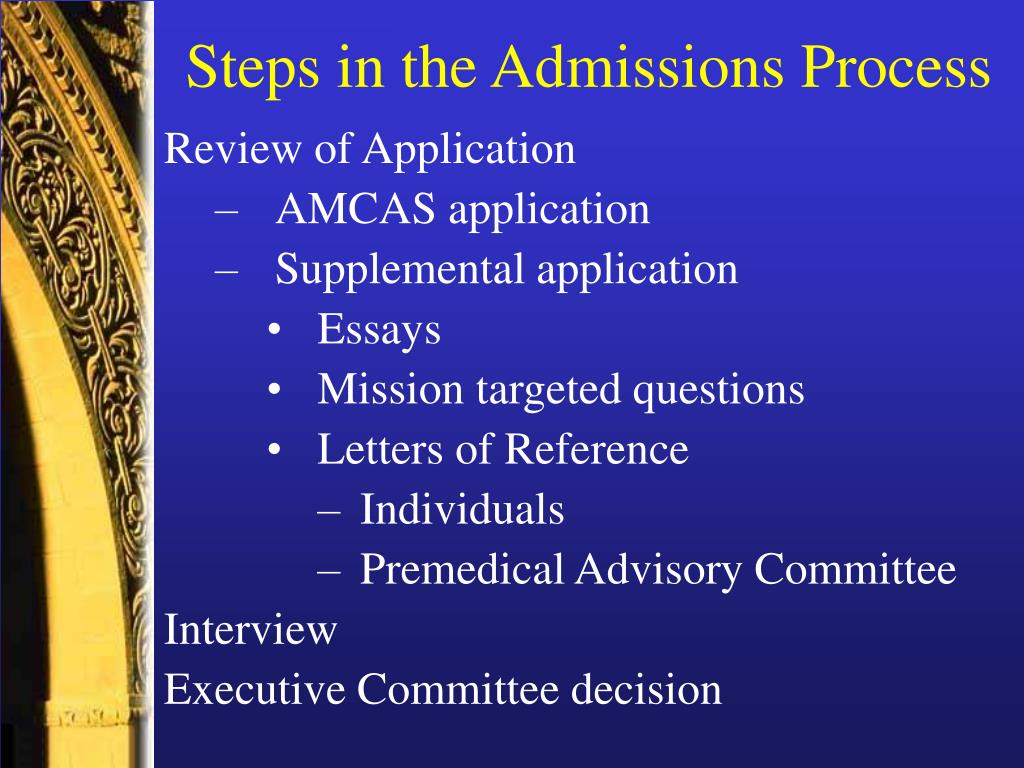 Steps in the Admissions Process