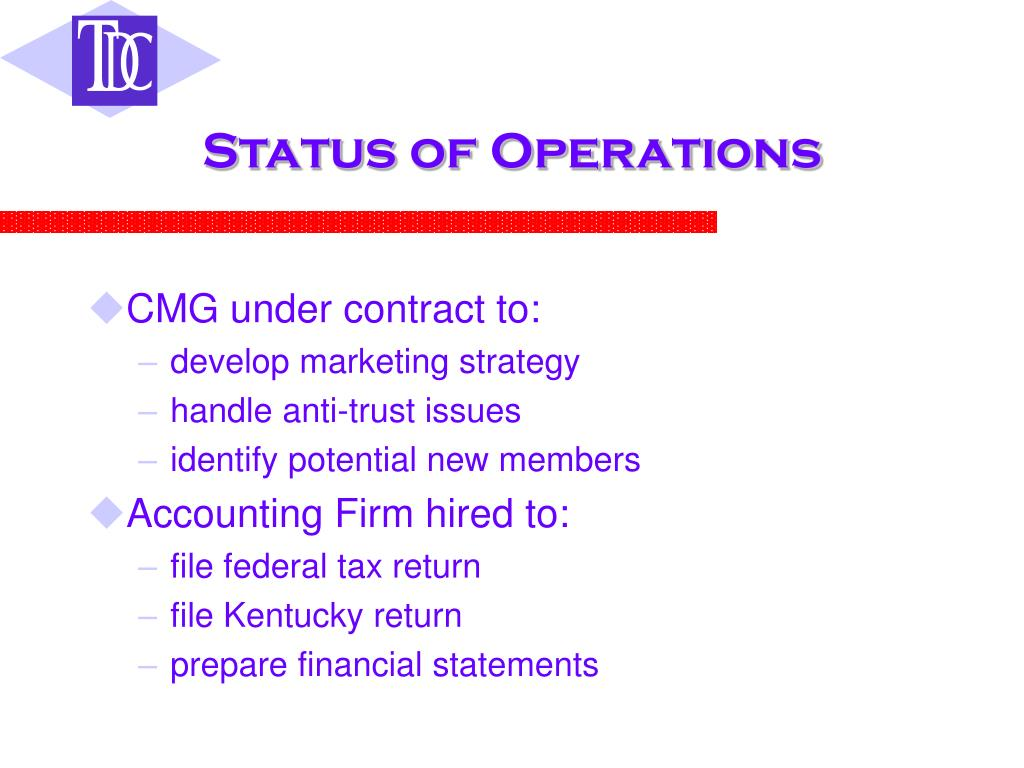 Status of Operations