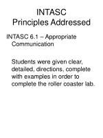 intasc principles addressed