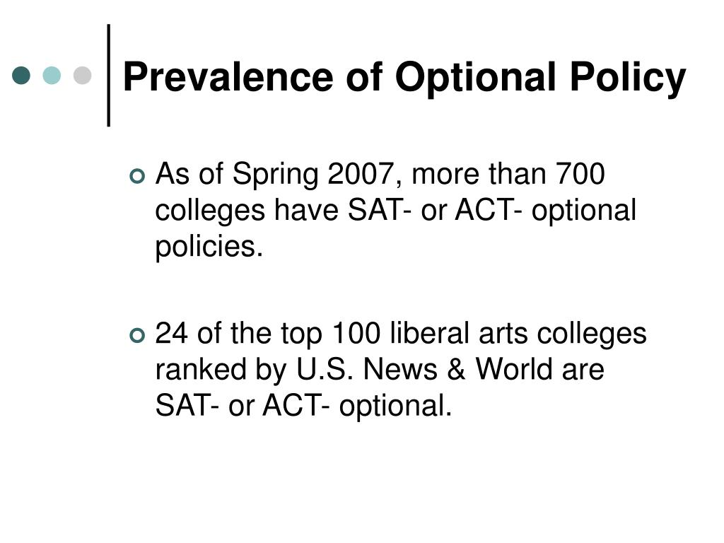 Prevalence of Optional Policy
