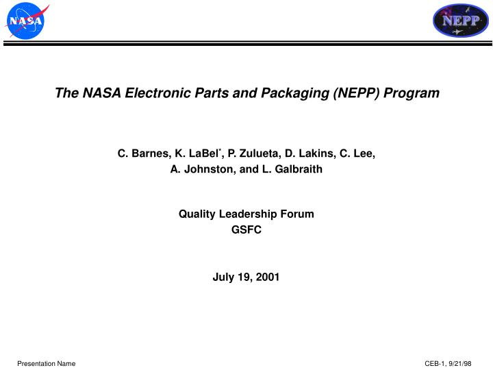 The nasa electronic parts and packaging nepp program
