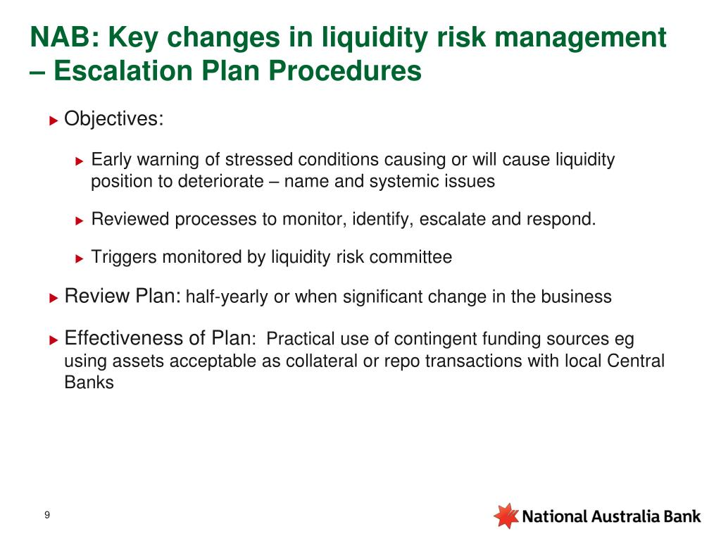 NAB: Key changes in liquidity risk management – Escalation Plan Procedures