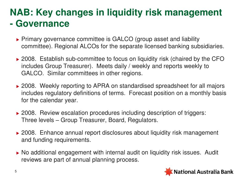 NAB: Key changes in liquidity risk management - Governance