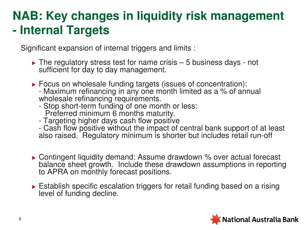 NAB: Key changes in liquidity risk management   - Internal Targets