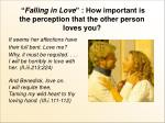 falling in love how important is the perception that the other person loves you