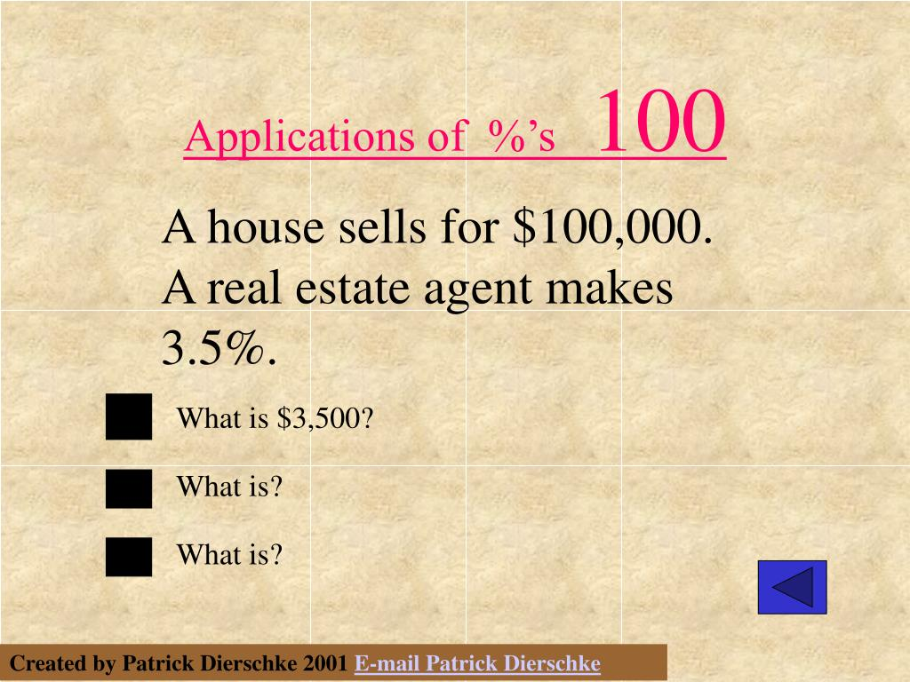 Applications of  %'s