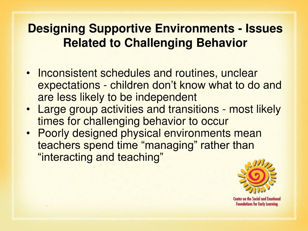Designing Supportive Environments - Issues Related to Challenging Behavior