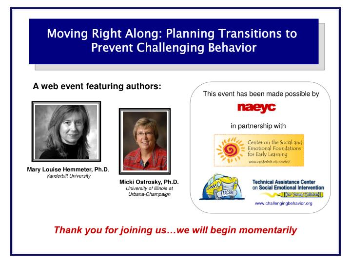 Moving Right Along: Planning Transitions to