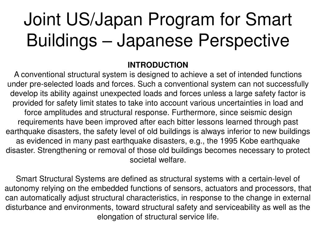 Joint US/Japan Program for Smart Buildings – Japanese Perspective
