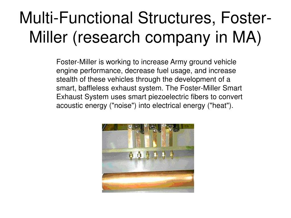 Multi-Functional Structures, Foster-Miller (research company in MA)