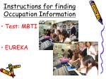 instructions for finding occupation information