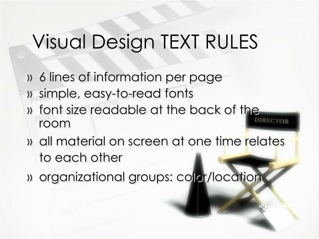 Visual Design TEXT RULES