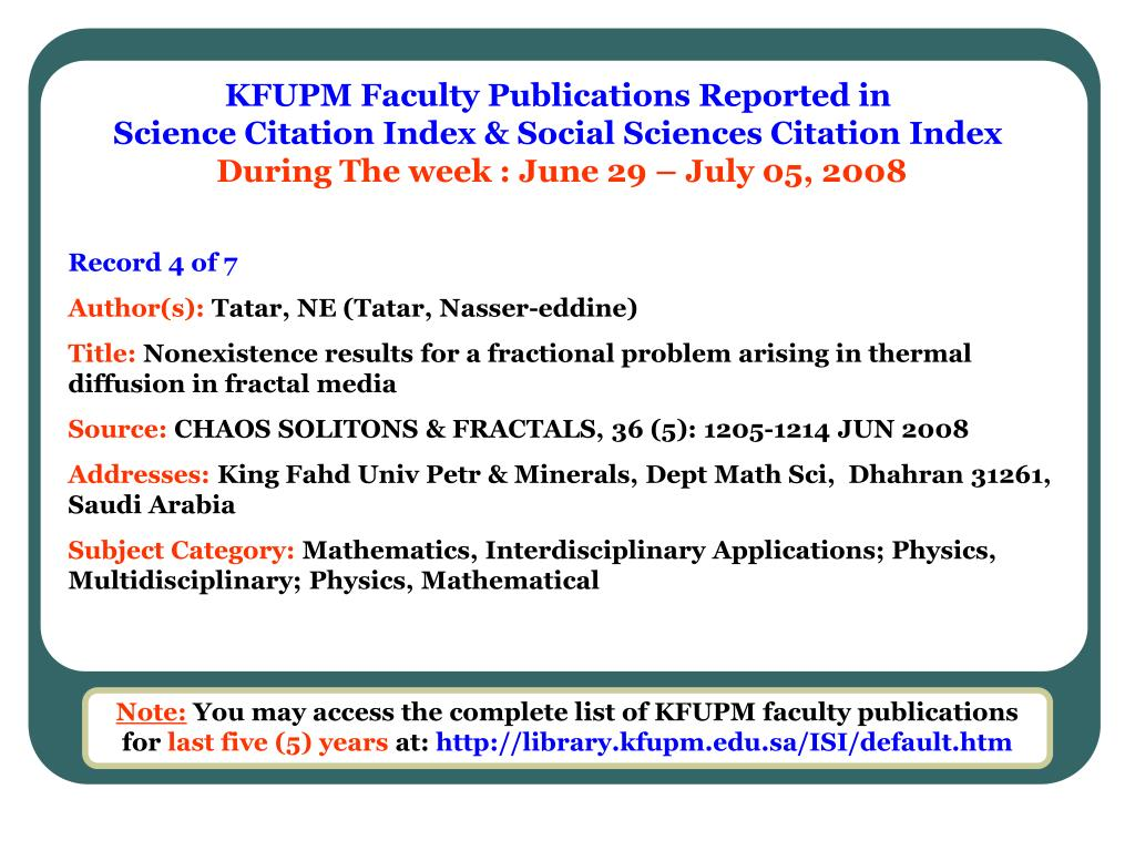 KFUPM Faculty Publications Reported in