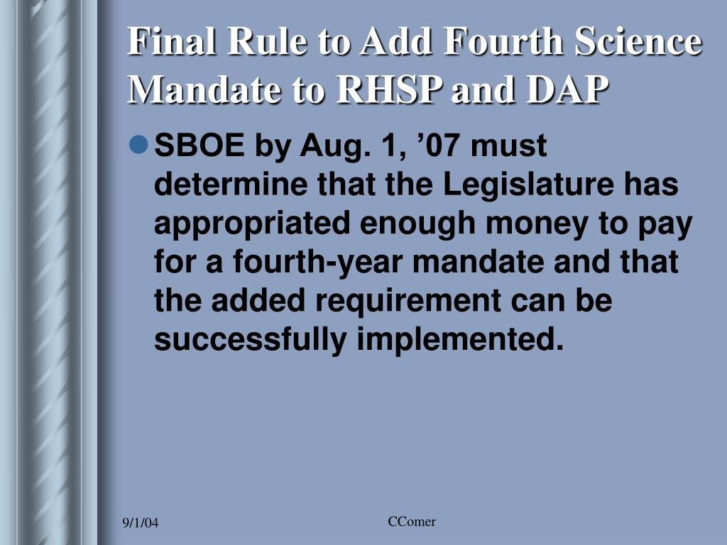 Final Rule to Add Fourth Science Mandate to RHSP and DAP