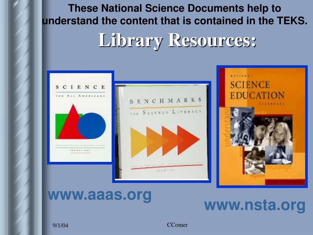 These National Science Documents help to understand the content that is contained in the TEKS.