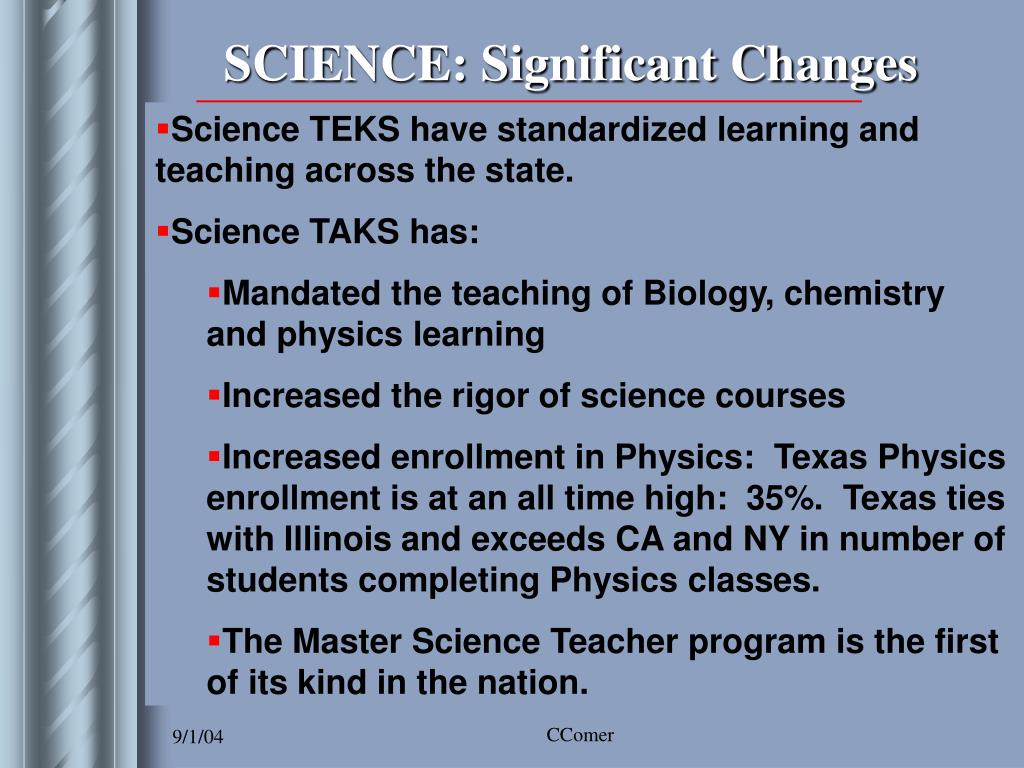 SCIENCE: Significant Changes