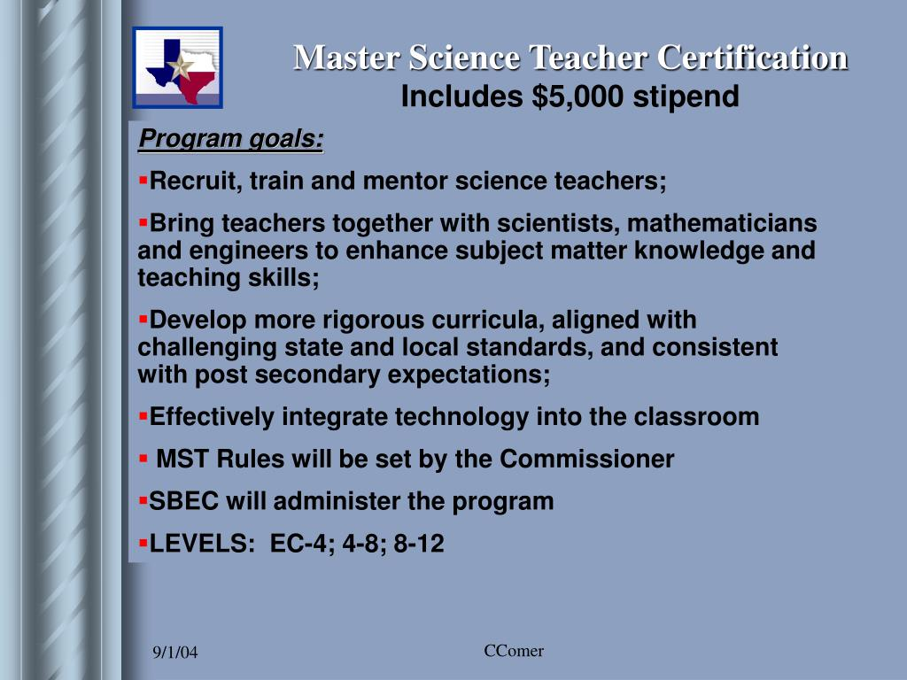 Master Science Teacher Certification