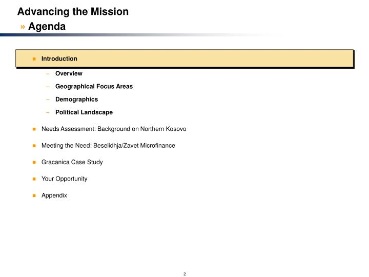 Advancing the mission agenda