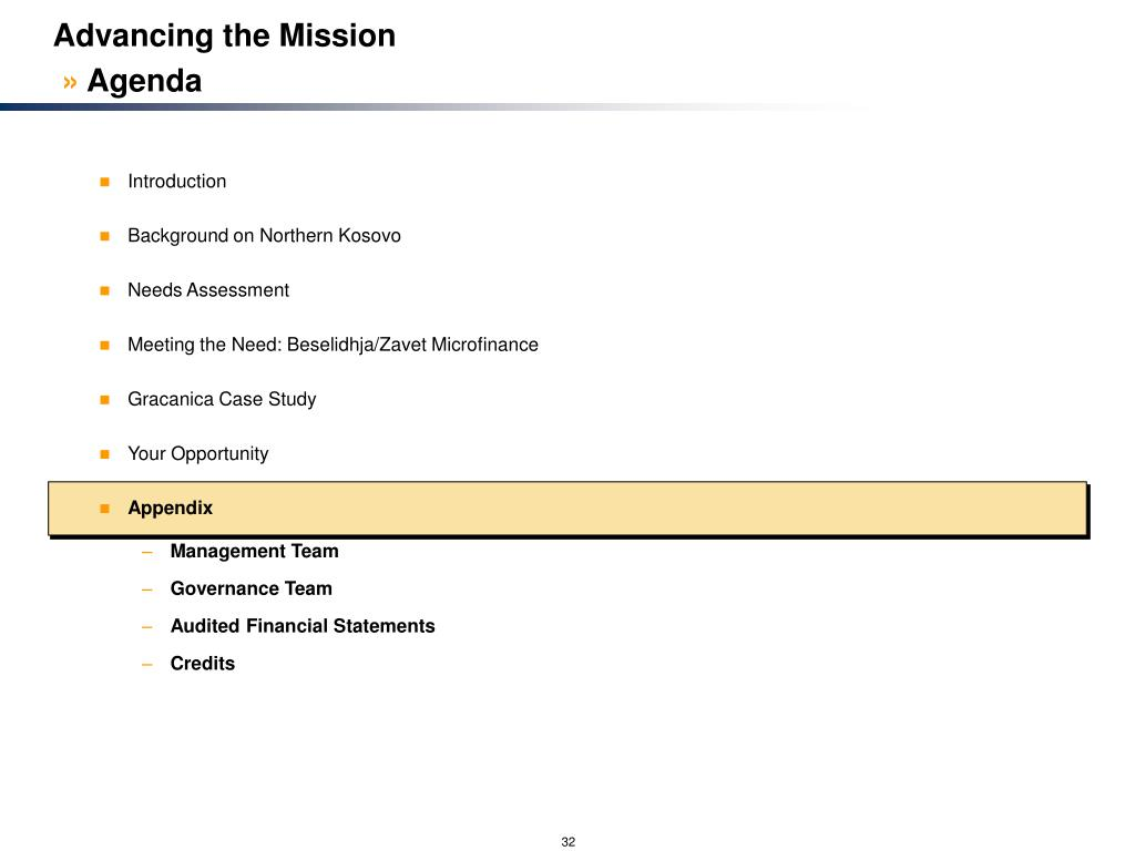 Advancing the Mission
